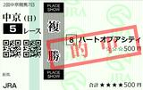 20200927中京5R新馬 複勝(◎8番ハートオブアシティ)的中