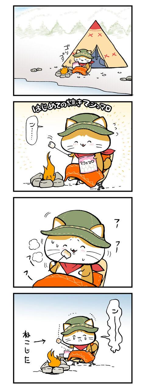 ねこねこキャンプ『はじめての焼きマシュマロ』