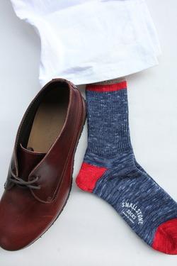 SMALL STONE Socks Cotton Slab Mix Crew NAVY