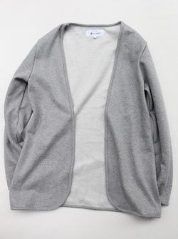 Flocon d ete Cotton Fleece Button Less Cardigan GREY