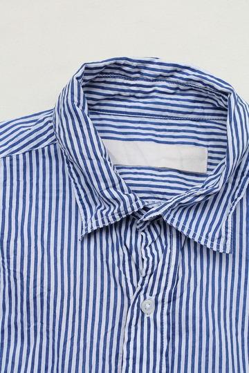 Vasy Lentlement Regular Collar Oversized Shirt WHITE BLUE