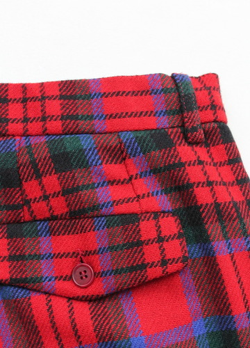 CESTERS 1 Pleats Trosuers  Burel RED Plaid (3)