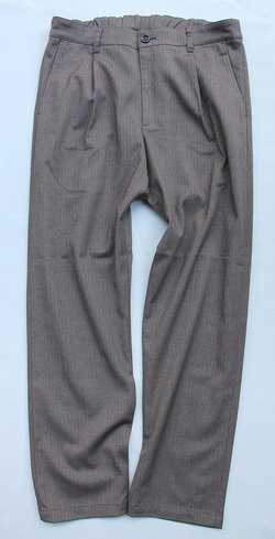 Harriss CARREMAN Stretch Heringbone 1P Tapered Pants BROWN (5)