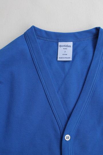 Quotidien Cotton Pique V Neck Cardigan ROYAL BLUE (2)