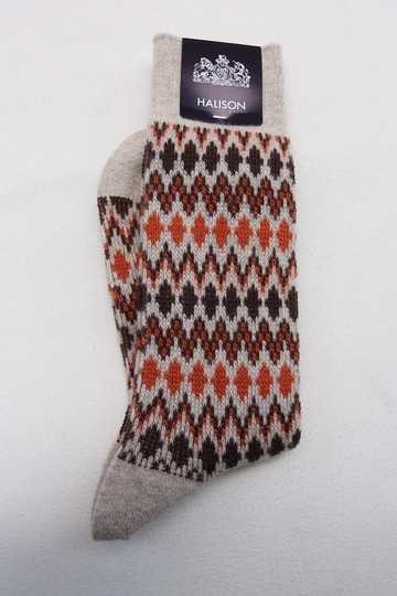 HALISON Mix Lamb Wool Zig Zag Dia Socks BEIGE (2)