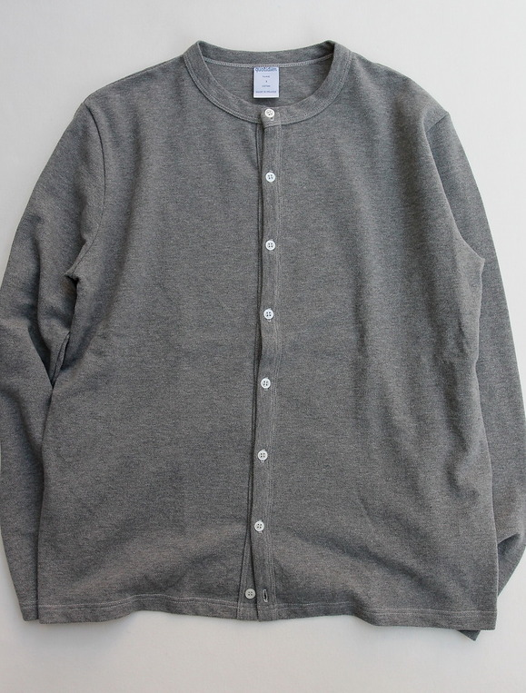 Quotidien Cotton Pique Crew Neck Cardigan GREY
