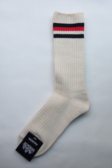 HALISON Organic Cotton IVY Crew Socks NAVY X RED