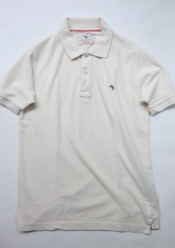 Praivate Lives Cotton Pique Polo Vintage Look ECRU