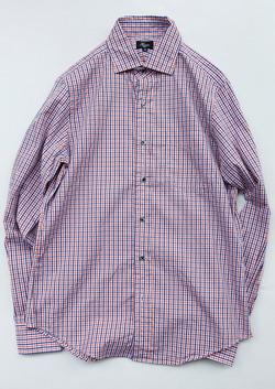 Harriss Wide Short Collar Plaid Shirt ORANGE X NAVY