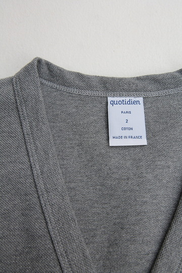 Quotidien Cotton Pique V Neck Cardigan HEATHER GREY (4)