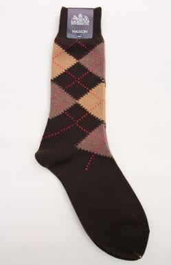 HALISON Mix Tasmania Lamb Wool Argyle Socks BROWN (2)