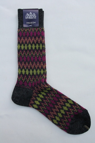 HALISON Mix Lamb Wool Zig Zag Dia Socks GREY (2)