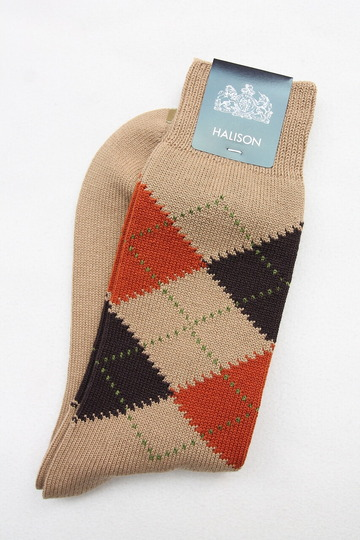 HALISON Dralon Cotton Argyle Socks BEIGE (2)
