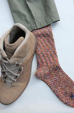 HALISON Marble Slab Rib Socks PINK