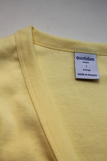 Quotidien 1X1 Rib Vneck Cardigan YELLOW (4)