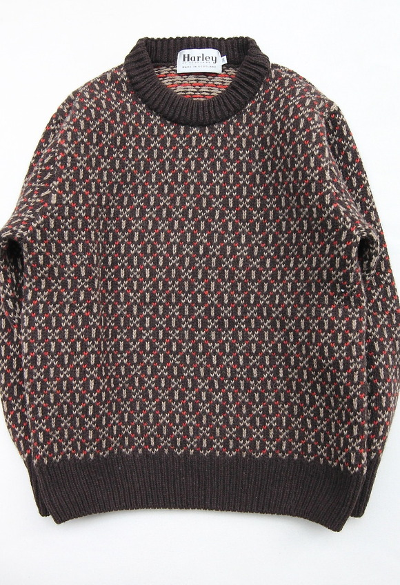 Harley Jacquard Double Crew Neck BROWN