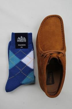 HALISON Dralon Cotton Srgyle Short Socks BLUE (2)