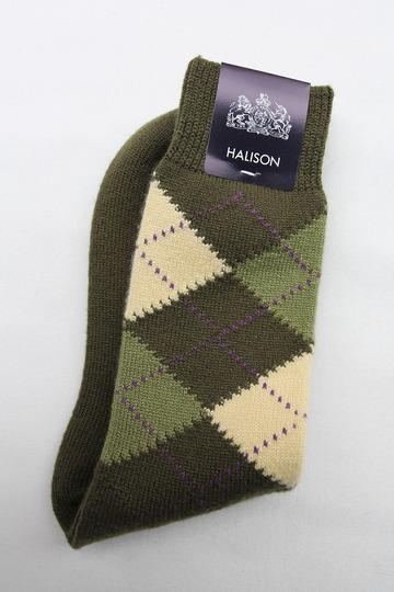 Mix Tasmania Lamb Wool Argyle Socks GREEN (2)