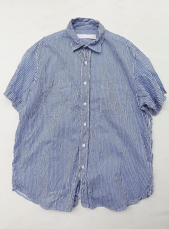 Vasy Lentlement Regular Collar Oversized Shirt WHITE BLUE Stripe