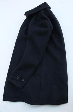 Vincent et Mireille Souten Collar Coat Melton Mossa NAVY (2)