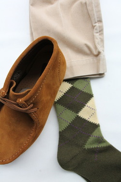 Mix Tasmania Lamb Wool Argyle Socks GREEN