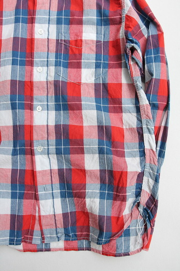 R & Vintage Triple Needle BD Shirt Indigo Check Broad Cloth (3)