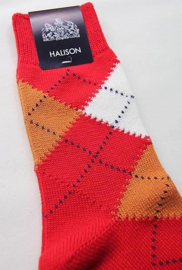 HALISON Dralon Cotton Argyle Short Socks RED (2)