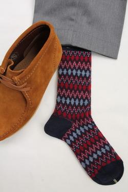 HALISON Mix Lamb Wool Zig Zag Dia Socks NAVY