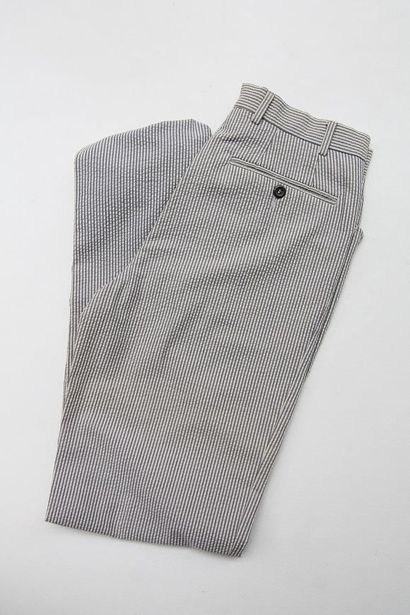 Mabitex Seersucker Tepered Pants BEIGE X GREY