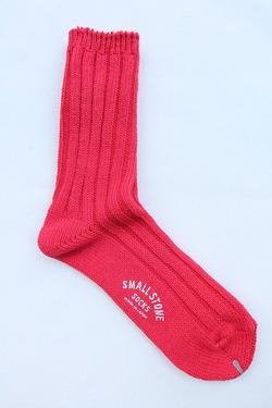 SMALL STONE Socks Cotton Big Rib Socks RED (2)