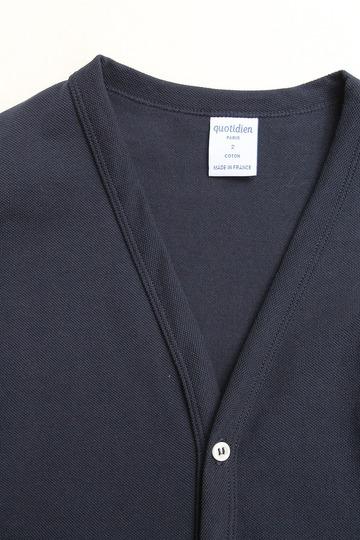 Quotidien Cotton Mesh Pique V Cardigan NAVY (3)