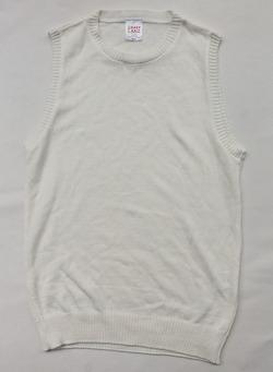 Easy Knit Crew Neck Vest WHITE