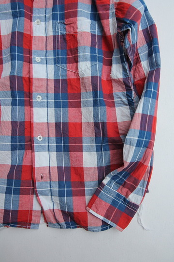 R & Vintage LS Triple Needle BD Shirt Indigo Check  (3)