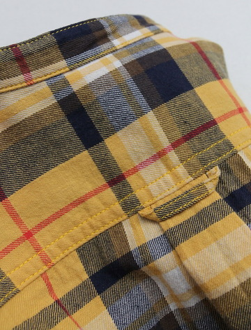 R & Vintage LS Band Collar Shirt Twill Check YELLOW (4)