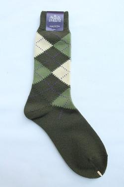 HALISON Mix Tasmania Lamb Wool Argyle Socks GREEN