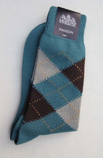 HALISON Dralon Cotton Argyle Socks BLUE (3)