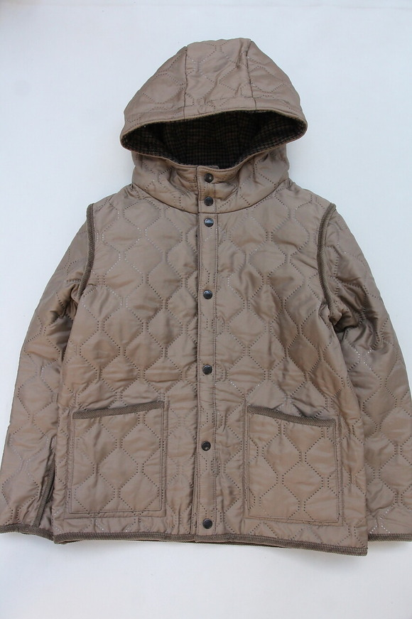 ARMEN Heat Quilt Reversible Hooded Jacket OLIVE Check X IRAQ (7)
