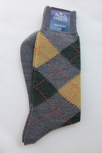 HALISON NZ Merino Arhyle Socks 5 Diamond GREY (2)