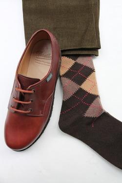 HALISON Mix Tasmania Lamb Wool Argyle Socks BROWN