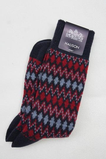 HALISON Mix Lamb Wool Zig Zag Dia Socks NAVY (2)