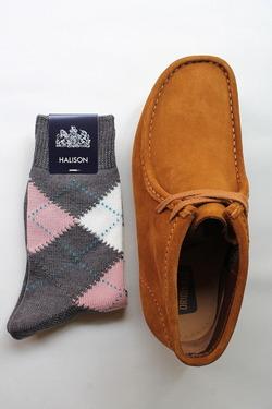 HALISON Dralon Cotton Argyle Short Socks GREY