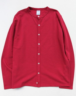 Quotidien Cotton Pique Crew Neck Cardigan CHERRY
