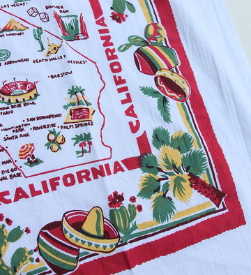 Red & White Flour Sack Towel CALIFORNIA (2)