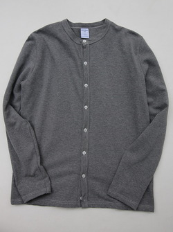 Quotidien Cotton Pique Crew Neck Cardigan Heather Grey