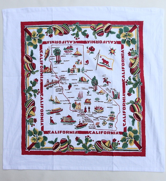 Red & White Flour Sack Towel CALIFORNIA