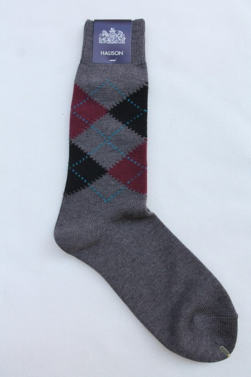 HALISON Dralon Cotton Argyle Socks GREY (3)