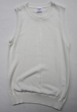Easy Knit Plain Crew Neck Vest ECRU