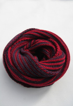 Robert Sim Rib Knit RED X GRAY NAVY