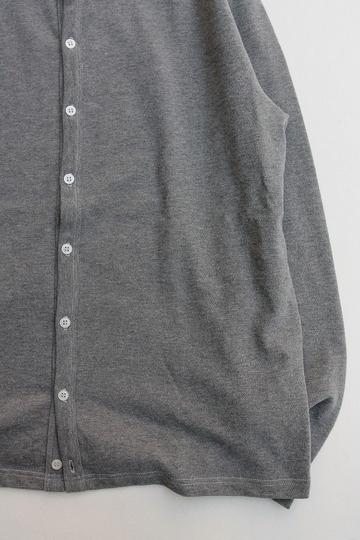 Quotidien Cotton Pique Crew Neck Cardigan GREY (3)