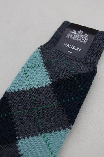 HALISON NZ Merino Argyle Socks 5 Diamond BLUE (3)
